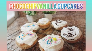 Chocochip Vanilla Cupcakes | h๐w to bake cupcakes