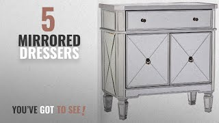 Top 10 Mirrored Dressers [2018]: Powell Mirrored 1-Drawer, 2-Door Console