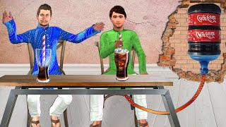ठंडा पीना का चुनौती Soft Drink Challenge Comedy Video हिंदी कहानियां Hindi Kahaniya Comedy Video screenshot 4