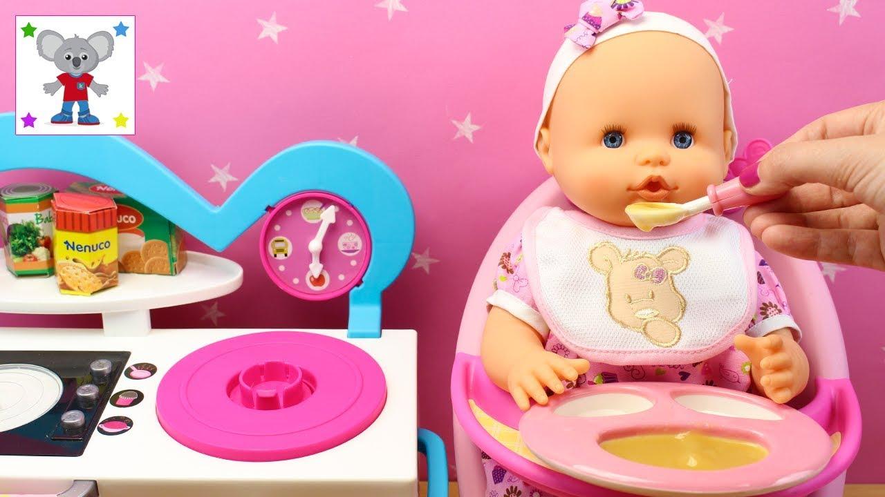 estética de lujo venta al por mayor una gran variedad de modelos BEBÉ NENUCO Recién Nacida come papilla en la trona | Bolso Cambiador con  accesorios de Muñeca Bebé