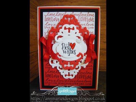32. Spellbinders Red Love & Best Wishes Swoosh Card