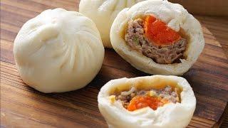 【楊桃美食網-3分鐘學做菜】蛋黃肉包(Steamed Buns With Pork u0026 Salted Egg)