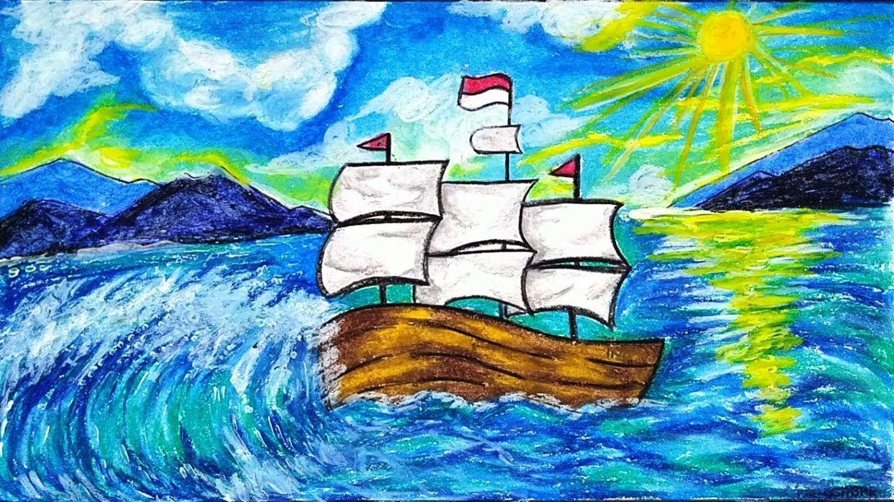 Cara Menggambar Dan Mewarnai Tema Kapal Layar Di Laut Dengan Gradasi Warna Crayon Oil Pastel Youtube