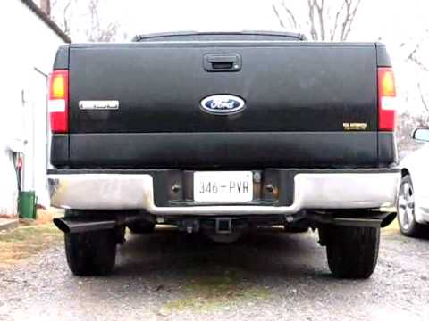 Flowmaster Exhaust F150 >> 2004 Ford F150 XLT Triton 4.6 V8 true dual exhuast using 40 series Flowmasters - YouTube