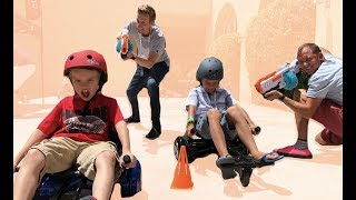 Hover board race vs X-Shot Blasters! TOA vs That YouTub3 Family
