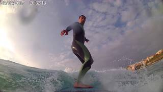 Surfeando al anochecer (Caion - Galicia)
