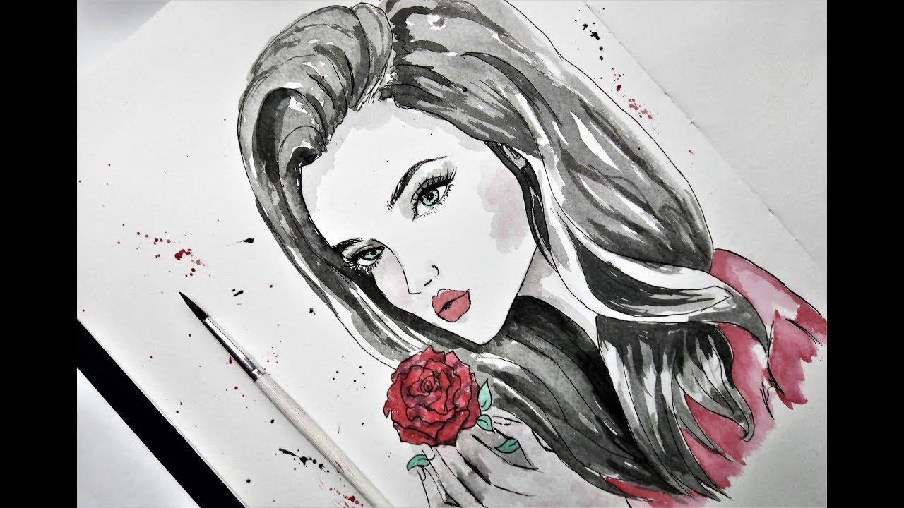 رسم سهل بالرصاص بنت كيوت بشعر طويل خطوة بخطوة Drawing A Pretty
