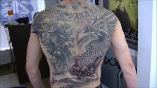 Full back tattoo finished - time lapse