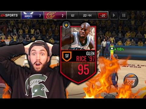 95 LEGEND GLEN RICE GAMEPLAY - TORCHING OPPONENTS FROM EVERYWHERE - NBA Live Mobile