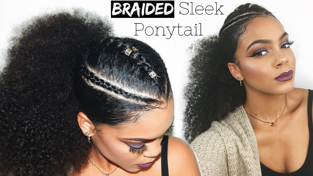 trendy braided sleek ponytail curly hairstyle