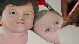 realistic drawing of kids-prismacolor colored pencils