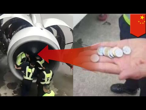 Woman throws coins in plane engine: Chinese woman tosses coins in engine for good luck - TomoNews