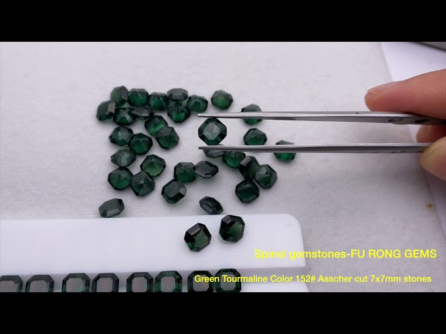Spinel Lab created Green Tourmaline Color 152# Asscher cut 7x7mm gemstones wholesale from china