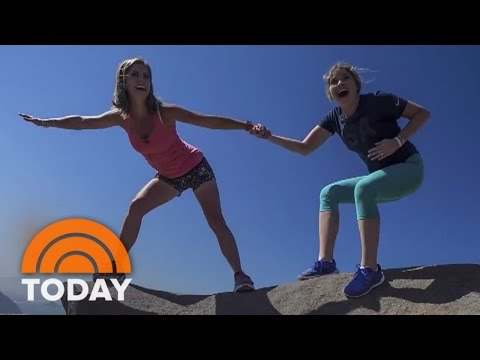 Natalie Morales And Jenna Bush Hager Hang From A Cliff In