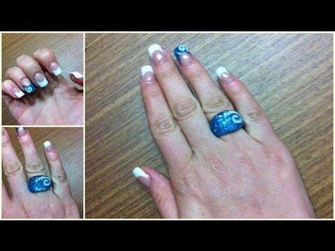 Principiantes: Diseño uñas acrílicas azul purpurina con espiral y ...