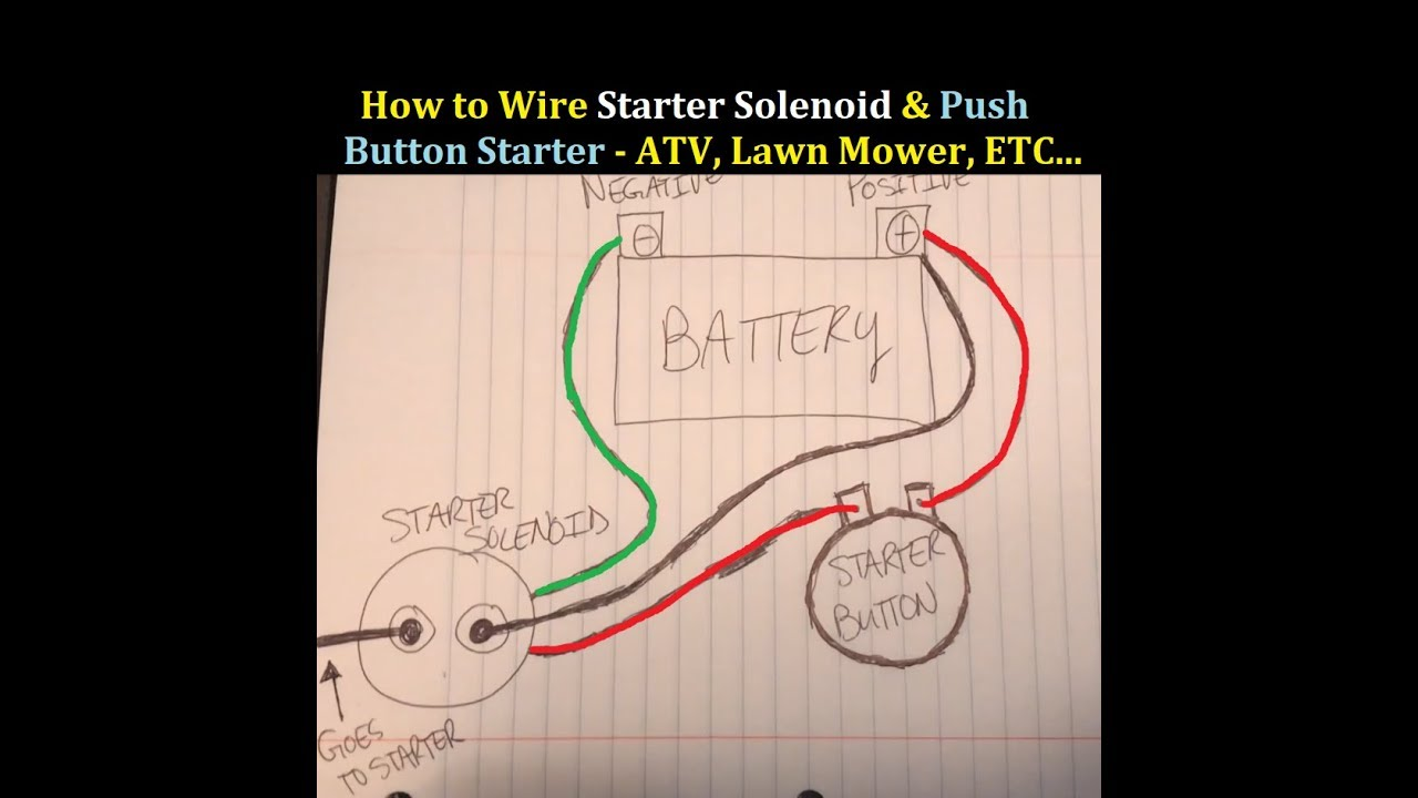 How to Wire Starter on and Solenoid to an ATV 3 Wheeler 4 ... Joyner Starter Switch Wire Diagram on starter switch wiring diagram, latching push button wire diagram, 110cc wire harness diagram,