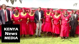 President Uhuru Kenyatta dancing to Kikuyu Traditional songs in Karatina Stadium!!!