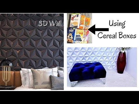DIY 3D WALL DECOR WITH CEREAL BOXES! INEXPENSIVE ROOM DECORATING IDEAS 2019