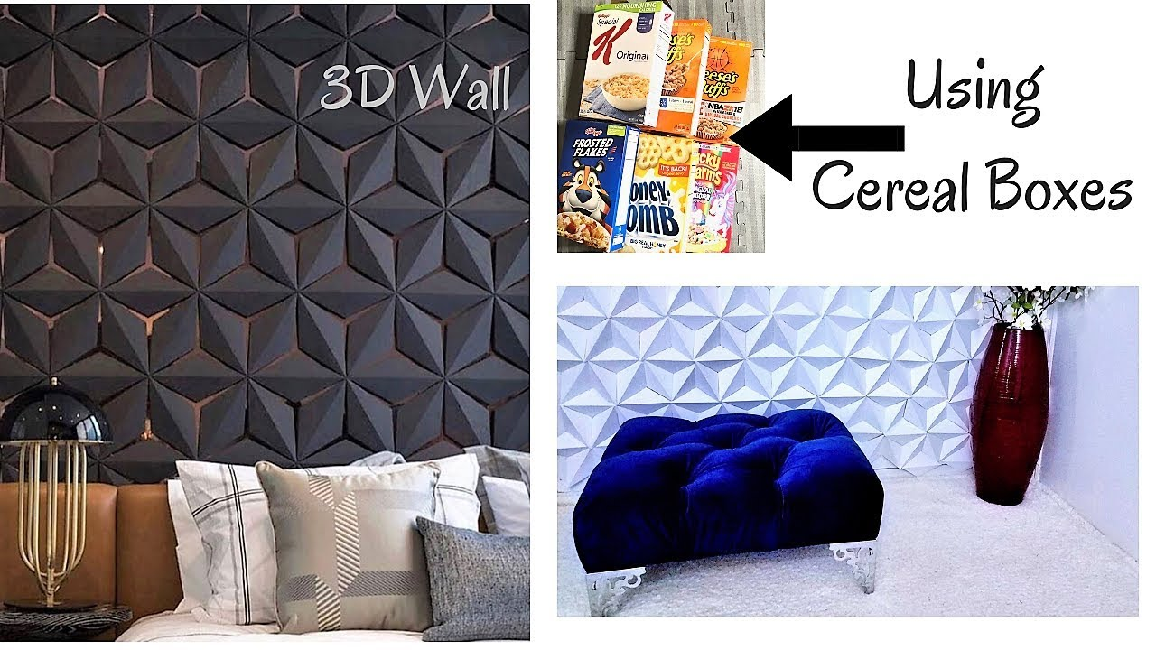 Diy 3d Wall Decor With Cereal Boxes Inexpensive Room Decorating Ideas 2019