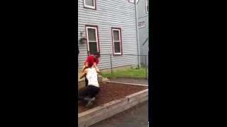 girl gets beat up in a front yard by another girl  PART 1!