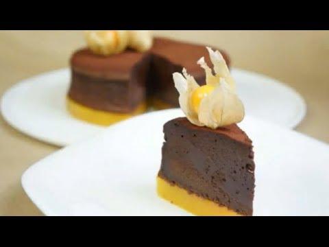 recette-:-moelleux-au-chocolat-intense-sur-miroir-mangue-passion-par-bridélice