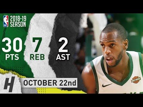 Khris Middleton Full Highlights Bucks vs Knicks 2018.10.22 - 30 Pts, 7 Reb, 2 Ast, CLUTCH!