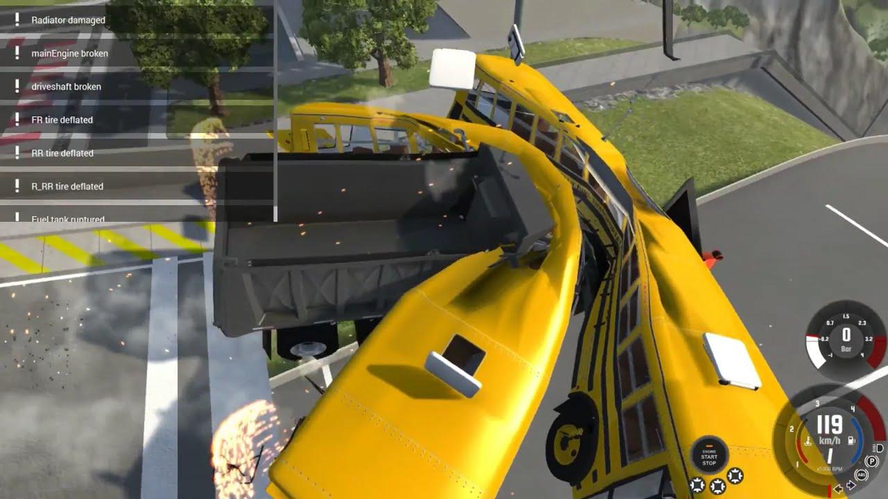 BIG TRUCKS VS SCHOOL BUS= AWESOME - BeamNG Drive big cars ...
