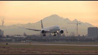 Morning heavies, Qantas, Air Canada, Japan Airlines landing at YVR