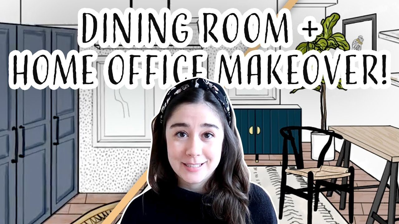 Home Office *VIRTUAL* Makeover   Dining Room Workspace 2 Ways