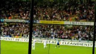 Club Brugge-Lokeren(9/8/09) 2de doelpunt in Zuid tribune