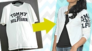 DIY Convert Old T-shirt Into Smart , Casual Jacket