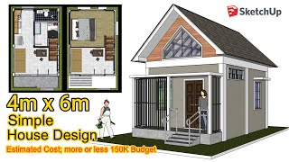 Tiny House | 4m X 6m | Loft Design Idea | Sketchup Animation