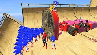 GTA 5 Crazy Ragdolls Spiderman Vs SONIC (GTA 5 Euphoria Physics Ragdolls Fails Funny)