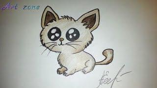 Как нарисовать милого котёнка. How to draw a cat.