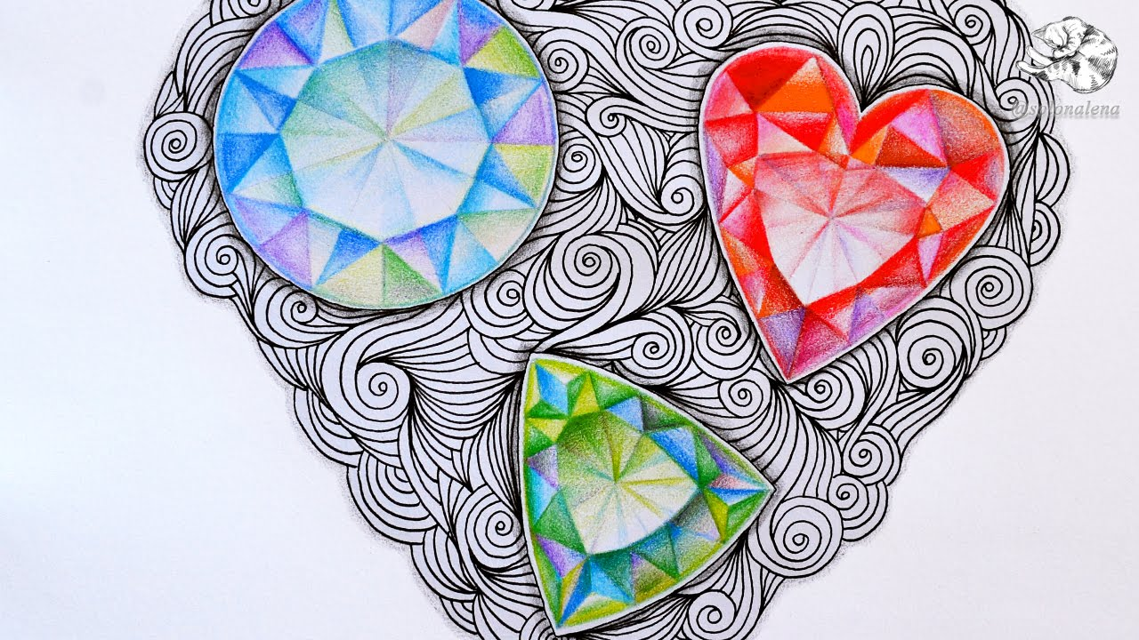 How to Draw Gems | Zentangle Inspired Jewels and Faceted ...