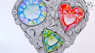 How to Draw Gems | Zentangle Inspired Jewels and Faceted Gemstones