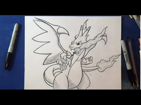Comment Dessiner Mega Dracaufeu X Pokemon Youtube