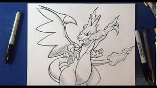 Comment dessiner Méga Dracaufeu X - Pokémon