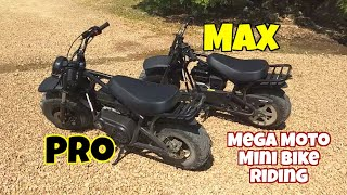New mini bike riding, Mega Moto 212 pro versus Mega Moto Max 212cc