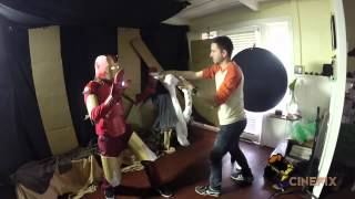 Iron Man vs  Thor vs  Captain America Fight from The Avengers   Homemade Behind the Scenes