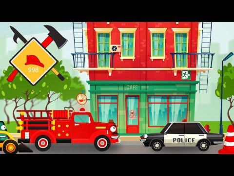 Fire Truck Excavator Police Bulldozer Crane Construction Site Funny cars