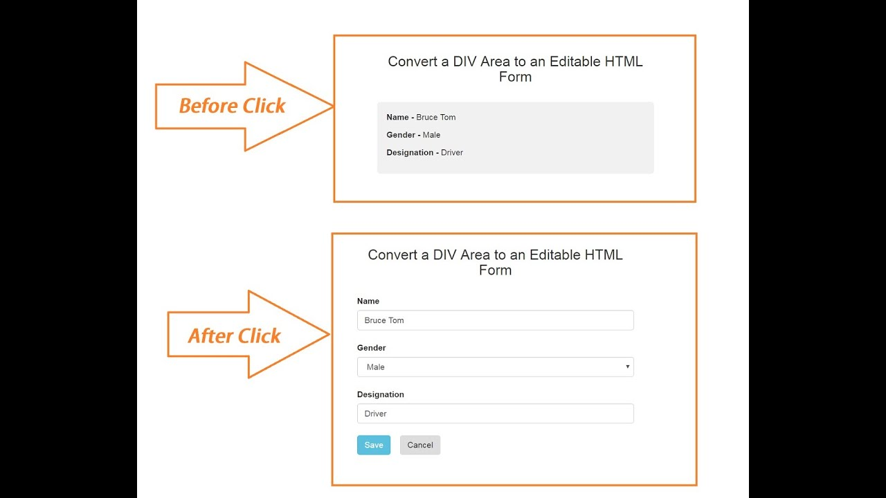 PHP Ajax Jquery - Convert Divison tag to Editable HTML Form - YouTube