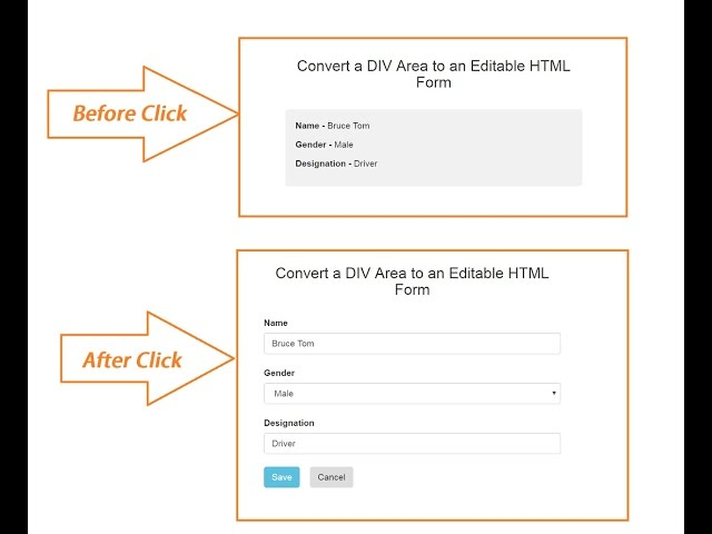 PHP Ajax Jquery - Convert Divison tag to Editable HTML Form