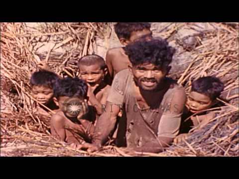 Natives group together in a foxhole in Eniwetok Atoll, Marshall Islands during Wo...HD Stock Footage