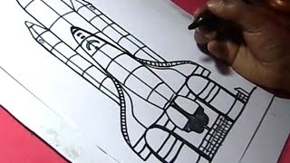 How to Draw NASA Rocket Laucher Drawing for kids