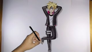 Drawing boruto with a 3d embossed impression using colored pencil real duraion 2 hours music beliaver / silent father audio library