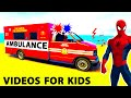 SUPER AMBULANCE CARS in Funny SPIDERMAN Cartoon for Kids & Nursery Rhymes Songs for Children