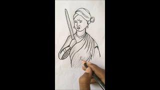 How to draw Jhansi Rani Lakshmi Bai step by step   How to Draw Jhansi Lakshmi bai Drawing for Kids