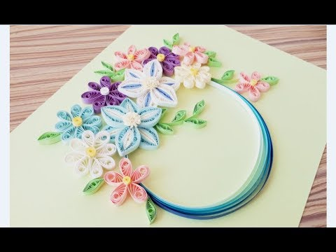 DIY Paper quilling Flower Card Design 29 // Quilling card