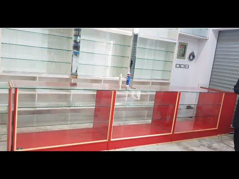 Cosmetic Shop Display glass counter with glass Shokes almari and garments shop